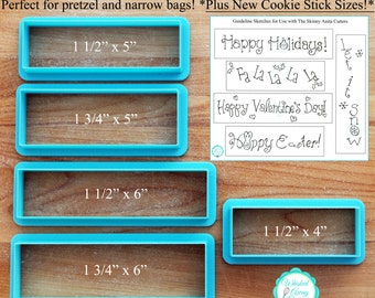 The Skinny Anita Rectangle Plaque Cookie Cutter - NEW Skinnier Cookie Stick Sizes Too!  **Guideline Sketches To Print Below**