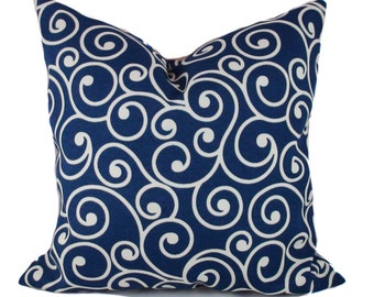 Blue outdoor pillows, Outdoor pillow cover, Blue white outdoor pillow, Outdoor cushions, Patio cushions, Patio pillow, 5 sizes available