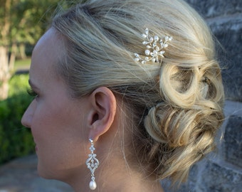 Swarovski crystal freshwater pearl wedding hair pin, bridal hair accessories, pearl rhinestone hairpin, bridal hair pearl, hairpin 206560857