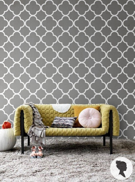 Quatrefoil pattern self adhesive removable wallpaper d041 for Ikea carta parati