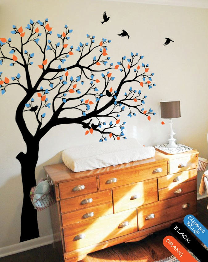 Large tree wall decal huge tree wall decals nursery wall decor for Big tree with bird wall decal deco art sticker mural