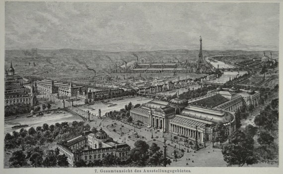 Buildings exhibition in Paris in 1900.  Antique illustration. 114 years lithograph. 9'6 x 6'2 inches.