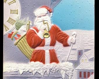 Santa Claus Playing Trumpet Embossed 1908 Postcard