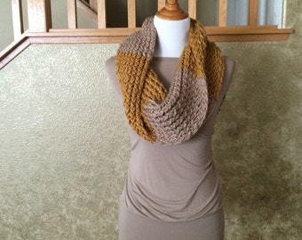 Gold and Barley Chunky Knit Cowl Scarf
