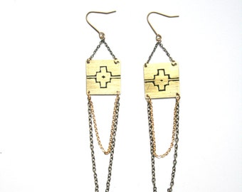MALACCA | Brass Dangle Earrings, Etched and Painted Square Brass with Black Geometric Graphic  | ORIGINS Collection