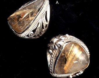 Size 9 Sterling Silver Ring. Rutilated Quartz energy stone.Large, Dramatic, Heavy or Filigree..free US ship
