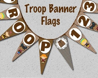 Brown Troop Banner - Instant Download - Print Your Own