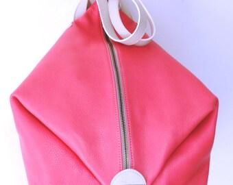 """leather bag """"bag lady"""" model"""