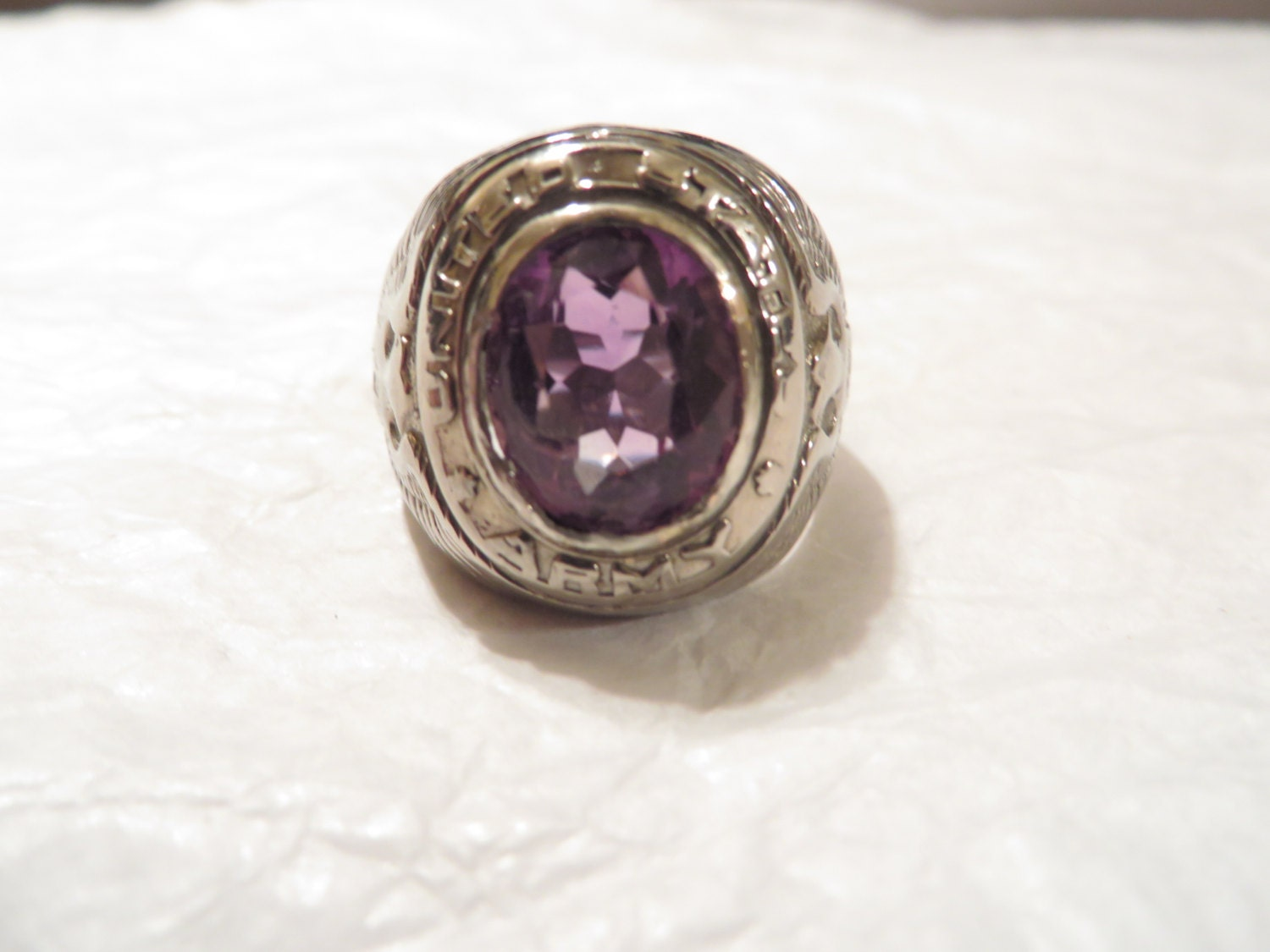 Antique Sterling Silver Us Army Ring