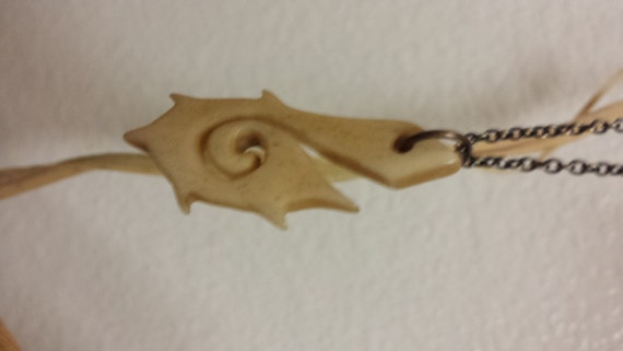 Chained Carved Bone Maori-Style Hei Matua Fishhook by GregWharton