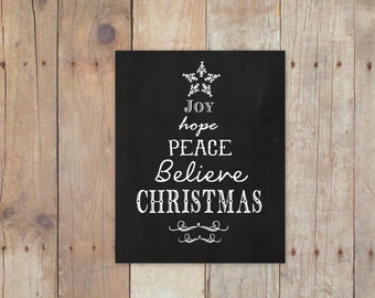 Joy hope peace believe christmas poster  - Christmas decor / 8x10 poster