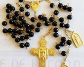 Rosary - Holy Face Onyx Rosary - 18K Gold Vermeil