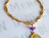 Bracelet - Mary of Magdala Amethyst with Alabaster Jar - 18K Gold Vermeil