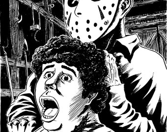Jason Voorhees kills Shelly from Friday the 13th part 3! 7.5x9.5 inch print on cardstock (unframed) by Colin Richards - Horror Movie Art