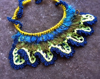 Handmade Jewelry Crochet Free Form Necklace Blue Green Peacock Unique Chunky Tribal Bib Necklace Choker Jewelry