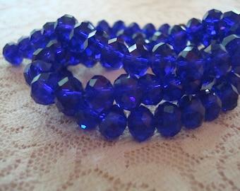 6x4mm Deep Cobalt Blue Rondelles. 100pc Translucent Beautiful Faceted Deep Blue Cut Glass Beads. 18.75inch strand. ~USPS Ship Rates /Oregon