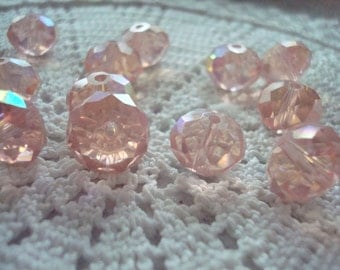 Sale! 26 Big Salmon Pink, Half AB, Hand Cut Rondelles. 9x12mm. Gorgeous, Faceted, Translucent Pink Glass with Aurora Borealis Finish on Half