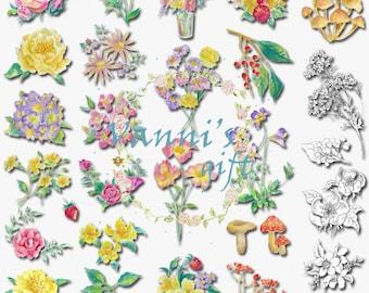 72 Handpainted Flower Sketch Digital Download Scrapbooking Clip Art b68