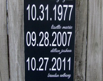"Family Dates Personalized Wooden Sign Birthdates Wood Sign The Dates That Made Our Family Wall 12""x36"""
