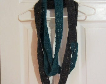 Teal and Charcoal Tweed Super Long Skinny Infinity Scarf