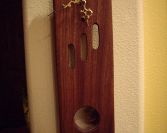 MINI Slim Line Clock ( ML2) Solid African Mahogany  with Pendulum
