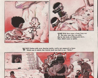 "Original Good Housekeeping cartoon ""Canyon Kiddies"" by James Swinnerton 1930s, 8x11 in. - Kids 752"