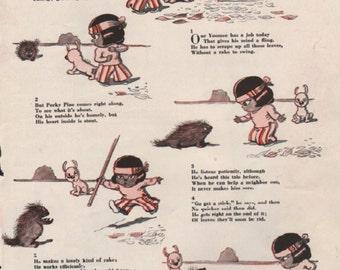 """Original Good Housekeeping cartoon """"Yoomee"""" by James Swinnerton 1930s, 8x11 in. - Kids 714"""