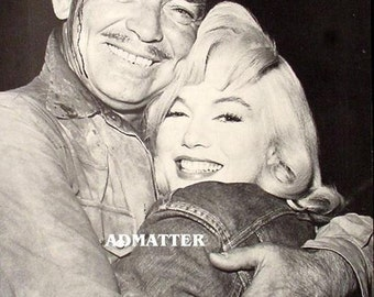 Marilyn Monroe & Clark Gable Vintage 8X11 Pin-up Poster! From the Movie Misfits Cool Pinup Wall Art Professionally Backed Print