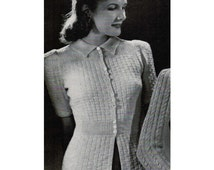 1940's Woman's Basket Weave Cardigan Knitting Pattern PDF / Vintage Basketweave Sweater Pattern / Mad Men Sweater / instant download
