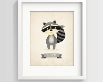 Raccoon nursery art print, nursery print, kid's room decor, childrens art, kids illustration, raccoon print, new baby gift, baby room print