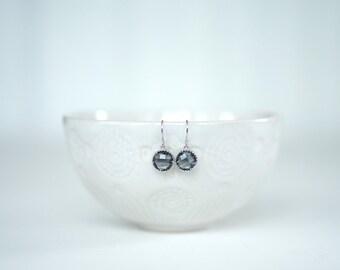 Dark Grey Gem and Silver Earrings | Bridesmaid Earrings | Wedding Jewelry