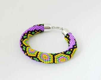 "Bead crochet rope Bracelet ""Fabulous Turtle"". Beadwork bracelet. Ready to ship. Handmade / beading /purple / Beadwork Jewelry"