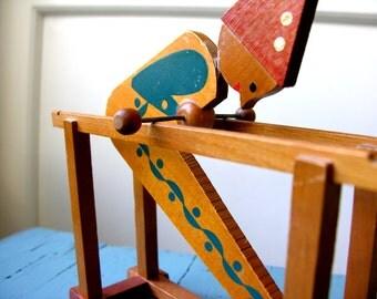 Acrobat clown - vintage motion wooden toy '60s