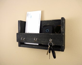 Key Holder and Mail Organizer - Black