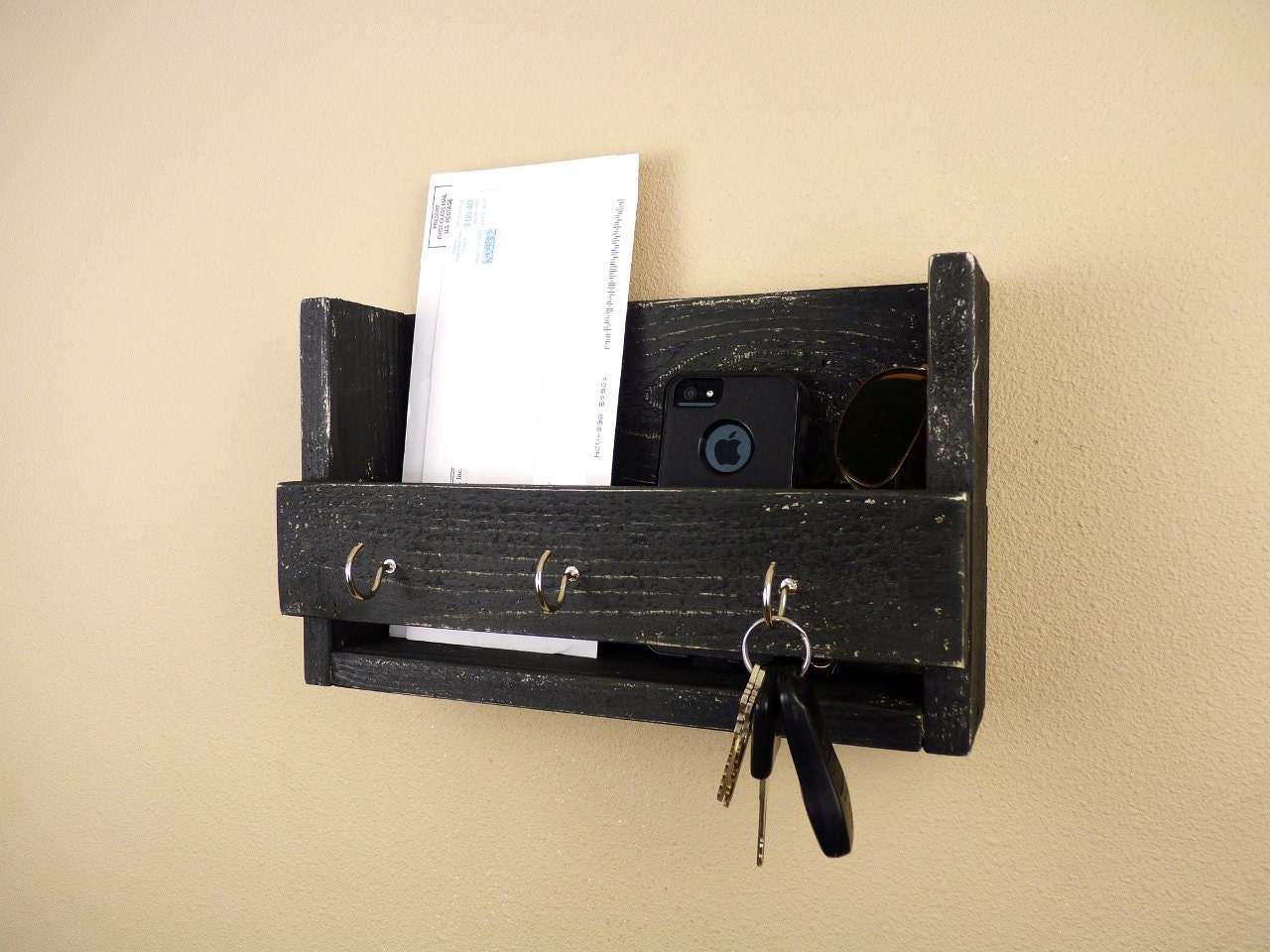 Key Holder And Mail Organizer Black By Homesteadtraditions
