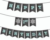 Winter Wonderland Banner - Printable Banner - Personalize with 1 name - Snowflake Birthday Banner - Winter ONEderland Banner