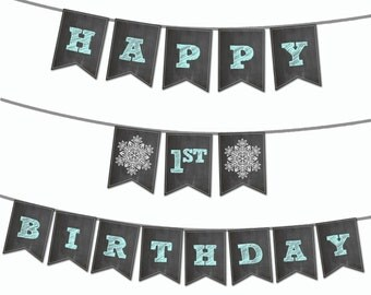 Winter Wonderland Banner - Printable Banner - Personalize with 1 name - Snowflake Birthday Banner - Winter ONEderland Banner