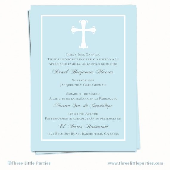 Baptism Invitation Invitacion de Bautizo en by ThreeLittleParties