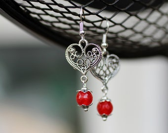 Silver Heart and Red Jade Earrings