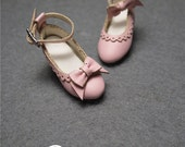 """Sweetiiger handmade 1/6 12"""" Blythe Pullip doll shoes Asymmetry baby pink bow carved lace pu heels shoes blythe/barbie/OOAK doll outfit"""
