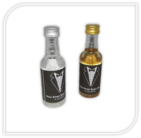 Custom tuxedo labels for mini liquor bottles 10 for Custom liquor bottles