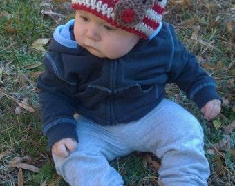 Rudolph Beanie, Newborn Infant Child Boy Girl, Christmas Holiday Beanie Reindeer Stripes