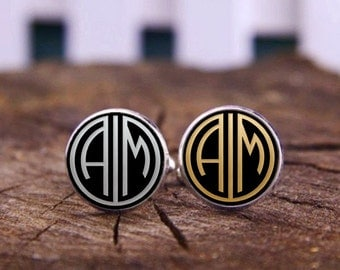 Customize Personalized Cufflinks, Custom Cufflinks, Monogram Cuff Links, 1920s Gatsby Style Cufflinks, Groomsman, Groom, Wedding Cufflinks
