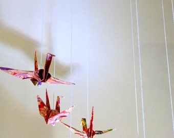 Origami mobile : cranes - baby room