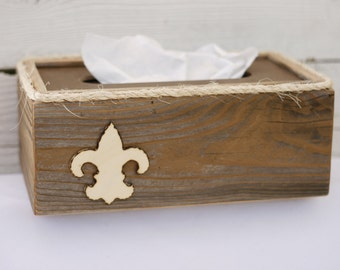 Le Fleur de Lis Tissue Kleenex Box Cover Holder Bathroom French Country Decor Made From Upcycled Wood Rustic Shabby Chic