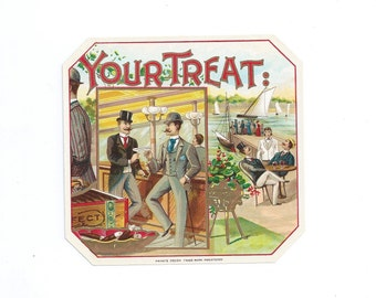 Vintage 1920s Lithograph Cigar Label Outer Label YOUR TREAT