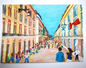 "Rua Augusta in Lisbon, Portugal #5 (ARTIST TRADING CARDS) 2.5"" x 3.5"" cards by Mike Kraus Free Shipping!"