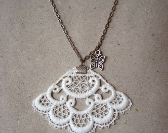 Lace necklace / Lace charm / Bridal necklace / Wedding jewelry / Lace jewelry / Romantic necklace