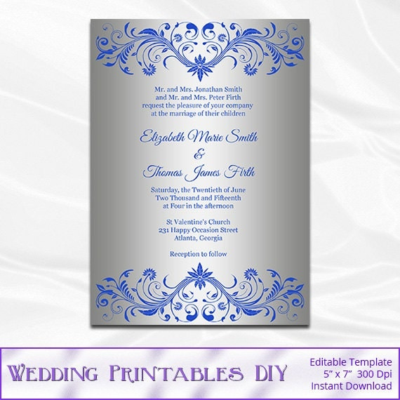 royal blue and silver wedding invitation template diy silver, Wedding invitations