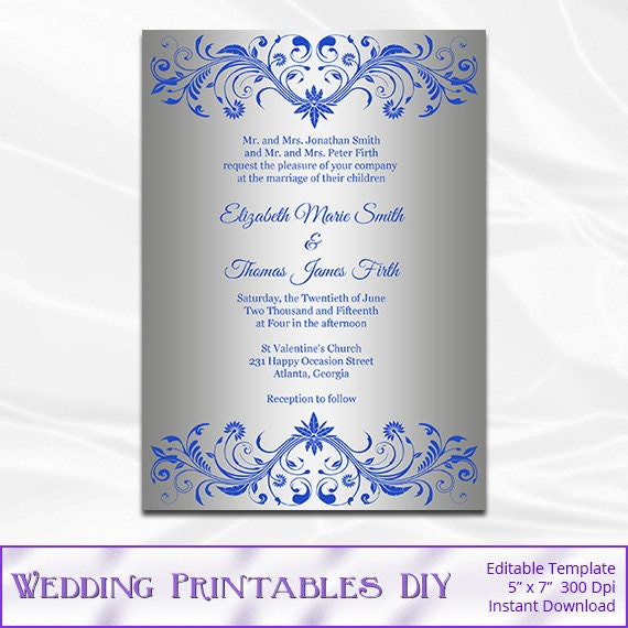 Royal Blue and Silver Wedding Invitation Template Diy Silver